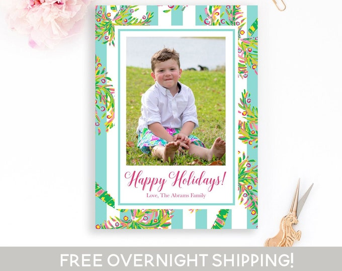 Preppy Christmas Photo Card, Tropical Christmas Card, Palm Tree Holiday Card, Photo Christmas Card, Holiday Photo Card, Photo Christmas Card