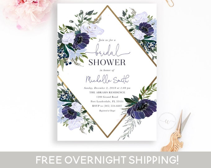 Geometric Bridal Shower Invitation, Navy Bridal Shower Invitation, Winter Bridal Shower Invite, Blue Floral Bridal Shower, Wedding Invite