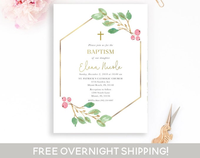 Christmas Baptism Invitation, Girls Baptism Christening Invite, Boys Baptism Invitaion, First Communion, Holly Baptism Invitation