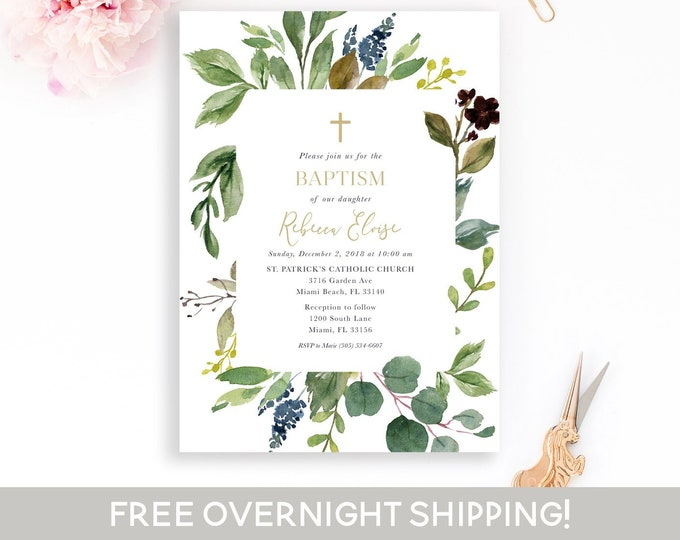 Greenery Baptism Invitation, Boy Baptism Invitation, Christening Invitation, Girl Baptism Invitation, Leaf Baptism Invite