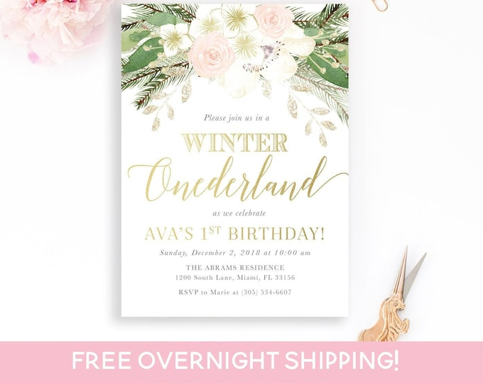 Pink Winter Onederland Invitation, First Birthday Winter Wonderland Invitation, Winter Birthday Invitation, Floral Winter Onederland Invite