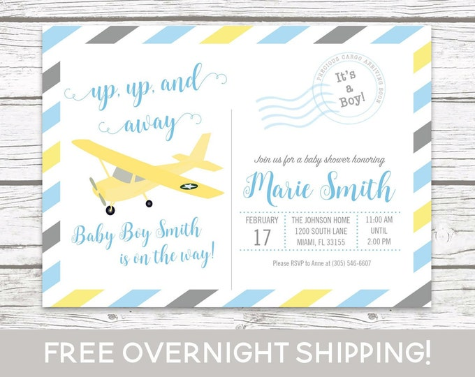 Airplane Baby Shower Invitation, Postcard Baby Shower, Boy Baby Shower Up Up and Away Invitation, Adventure Awaits Baby Shower Blue Yellow