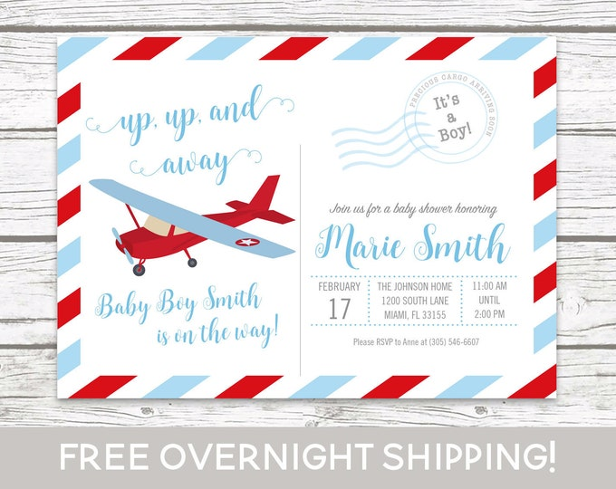 Airplane Baby Shower Invitation, Postcard Baby Shower, Boy Baby Shower Up Up and Away Invitation, Adventure Awaits Baby Shower Blue and Red