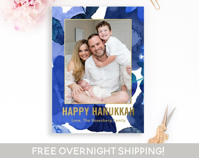 Blue Floral Hanukkah Card, Watercolor Hanukkah Photo Card, Blue and Gold Hanukkah Card, Chanukah Card, Hanukkah Card, Jewish Holiday Card