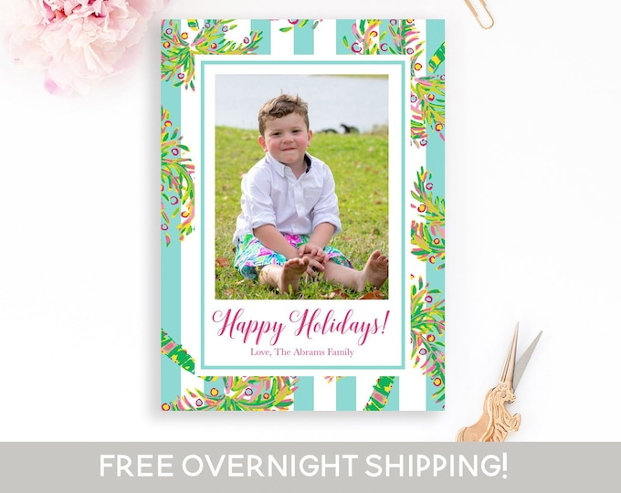 Preppy Christmas Photo Card, Tropical Christmas Card, Palm Tree Holiday Card, Photo Christmas Card, Holiday Photo Card, Photo Christmas Card