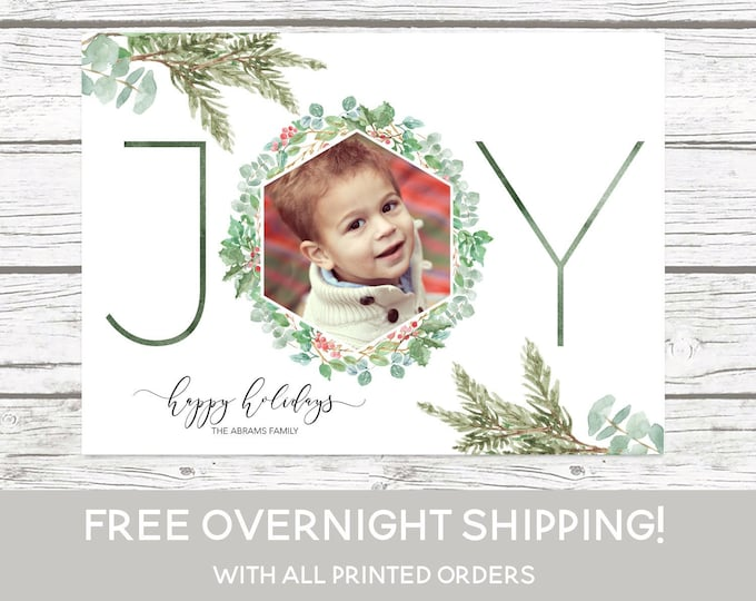 Joy Christmas Photo Card, Floral Christmas Photo Card, Holly Christmas Card, Holiday Photo Card, Christmas Picture Card, Pine Christmas Card