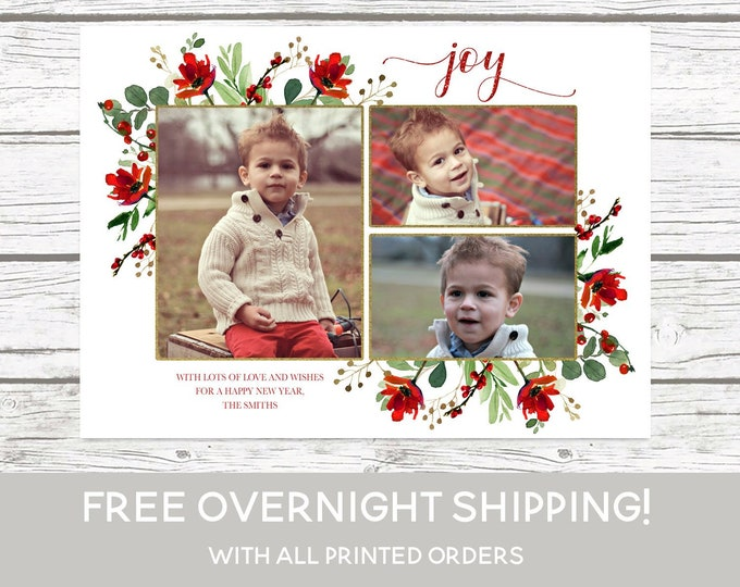 Red Floral Joy Photo Christmas Card, Floral Christmas Photo Card, Red Christmas Card, Holiday Photo Card, Christmas Picture Card, Holly Card