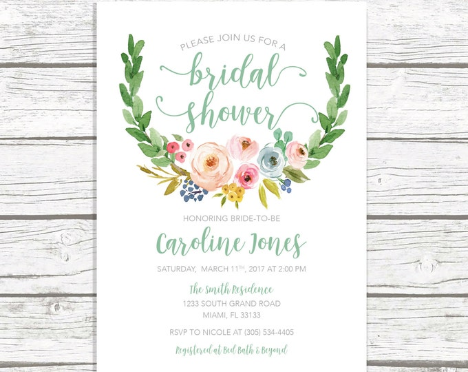 Bridal Shower Invitation, Green Bridal Shower Invitation, Garden Bridal Shower, Rustic Bridal Shower Invite, Watercolor Floral Printable