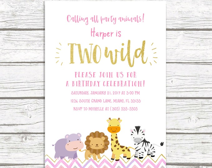 Two Wild Birthday Invitation, Safari Birthday Invitation, Pink and Gold Birthday Invitation, Birthday Invitation Girl, Printable Invitation