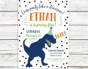 Dinosaur Birthday Invitation, Dinosaur Invitation, Dinosaur Birthday Party Invite, Dino Birthday Invitation, First 1st Birthday Boy