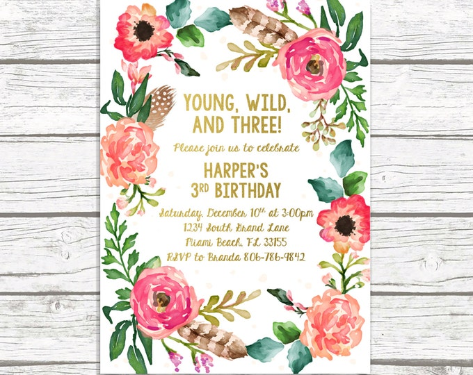 Young Wild and Three Birthday Invitation, Wild and Three Boho Birthday Invitation, Girl Invite, Third 3rd Birthday, Floral Wreath Printable