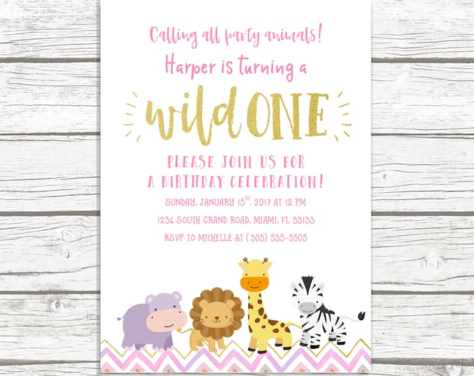 Wild One Birthday Invitation, Safari Birthday Invitation, First 1st Birthday Invitation Girl, Pink and Gold Birthday, Printable Invite