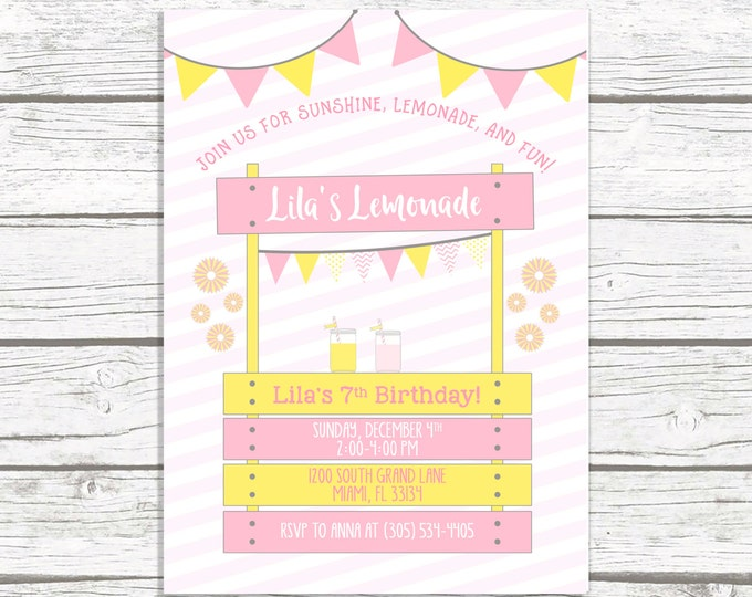 Lemonade Stand Birthday Invitation, Pink Lemonade Birthday Invitation, Lemonade Stand Invitation, Birthday Invitation Girl, Printable Invite
