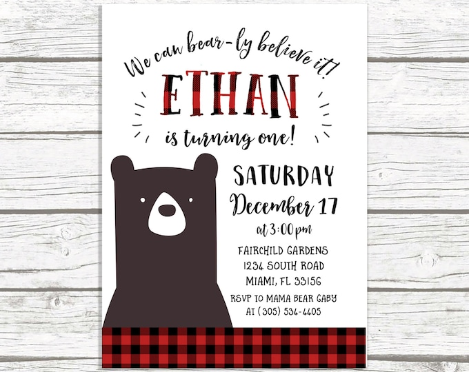 Bear Lumberjack First Birthday Invitation, Flannel Bear Birthday Invitation, First 1st Birthday Boy, Winter Camping Invitation