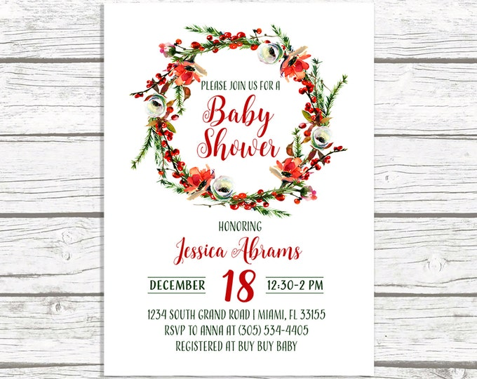 Christmas Floral Wreath Baby Shower Invitation, Winter Christmas Holiday Red Holly Rustic Invite, Boy Girl Printable or Printed Invitation