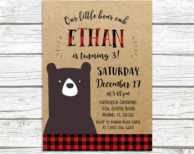 Bear Flannel Birthday Party Invitation, Lumberjack Buffalo Plaid, Kraft Paper, Wild One Hipster Invite, Printed or Printable