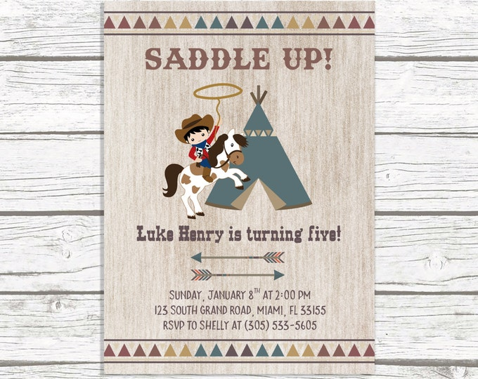 Cowboy Birthday Invitation, Cowboy Invitation, Western Birthday Invitation, Wild West Birthday Invitation, Saddle Up Printable Invite