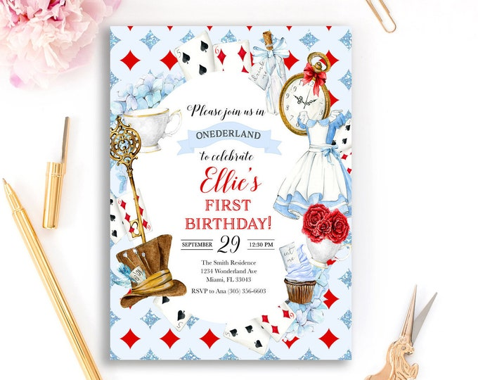Alice in Onederland Birthday Invitation, Alice in Wonderland Birthday Invitation, Onederland Invitation, Girl 1st First Birthday Invitation