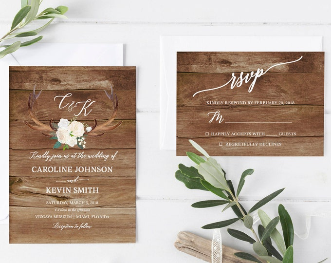 Rustic Wedding Invitation, Antler Wedding Invitation, White Floral Wedding Invite, Floral Antler Printable Wedding Invitation Suite