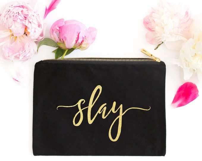Slay Makeup Bag, Gold Foil Makeup Bag, Black and Gold Makeup Bag, Gold Cosmetic Pouch Bag, Bridesmaid Gift, Gift for Her