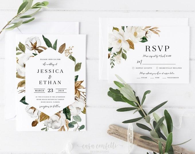 Magnolia Wedding Invitation Suite, Southern Wedding Invitation, White Floral Wedding Invite, Greenery Geometric Wedding, Cotto