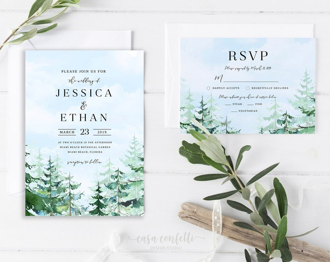 Forest Wedding Invitation, Mountain Wedding Invitation Suite, Woods Pine Tree Wedding Invitation, Adventure Awaits Rustic Wedding Invitation