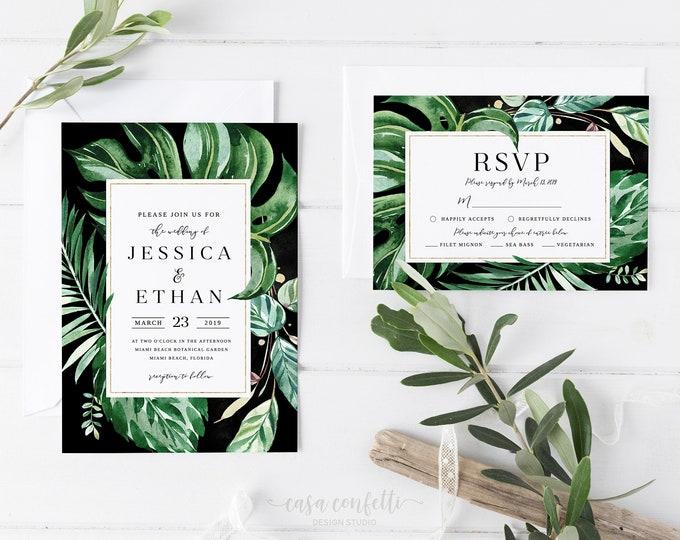 Tropical Wedding Invitation, Palm Leaf Wedding Invitation, Palm Wedding Invitation, Destination Wedding Invitation, Green Printable Invite