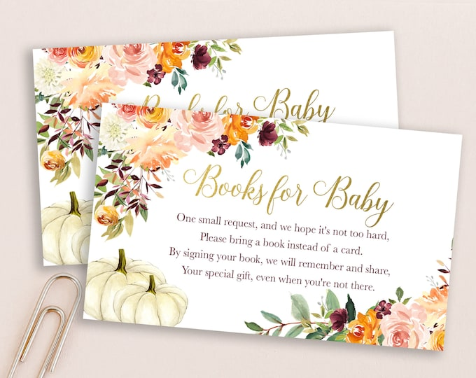 Fall Pumpkin Bring a Book Insert, Fall Book Insert, Bring a Book Instead of a Card Baby Shower Invitation Insert, Fall Stock Baby's Library