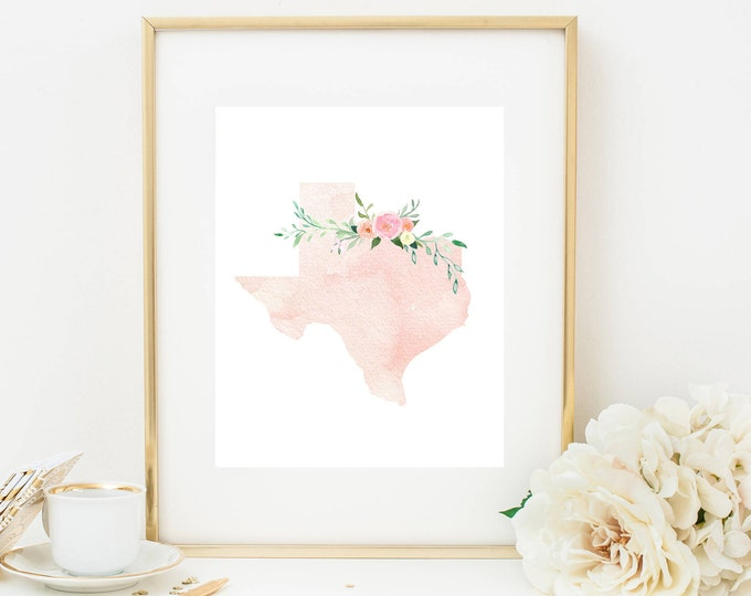 Texas Print, Pink Watercolor Map, Texas Silhouette, Texas Art Print, Printable Home Nursery Decor, Texas Wall Art, Dorm Decor