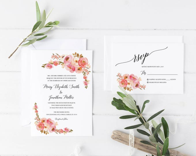 Blush Wedding Invitation, Pink Floral Wedding Invitation, Blush Floral Invitation, Rustic Wedding Invitation, Boho Wedding, Printable Invite