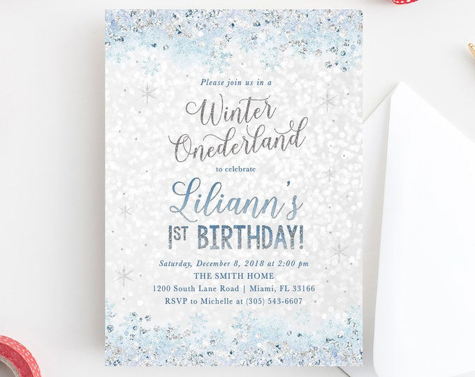 Winter Onederland Invitation, First Birthday Winter Wonderland Invitation, Snowflake Birthday Invitation, Winter Onederland Snow Invite