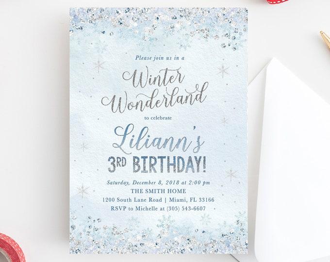 Winter Wonderland Invitation, Winter Wonderland Birthday Invitation, Snowflake Birthday Invitation, Winter Onederland Invite, Snow Invite