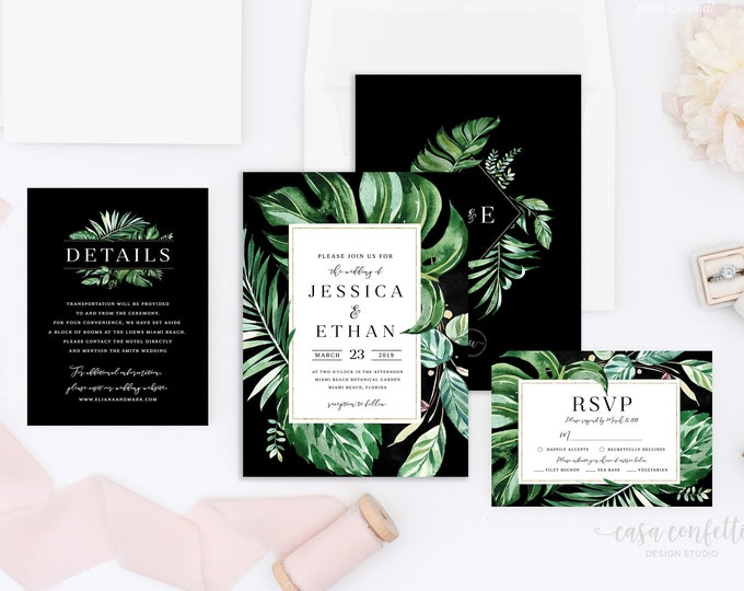 Monsterra Leaf Wedding Invitation, Tropical Wedding Invitation, Palm Wedding Invitation, Destination Wedding Invitation, Printable Invite