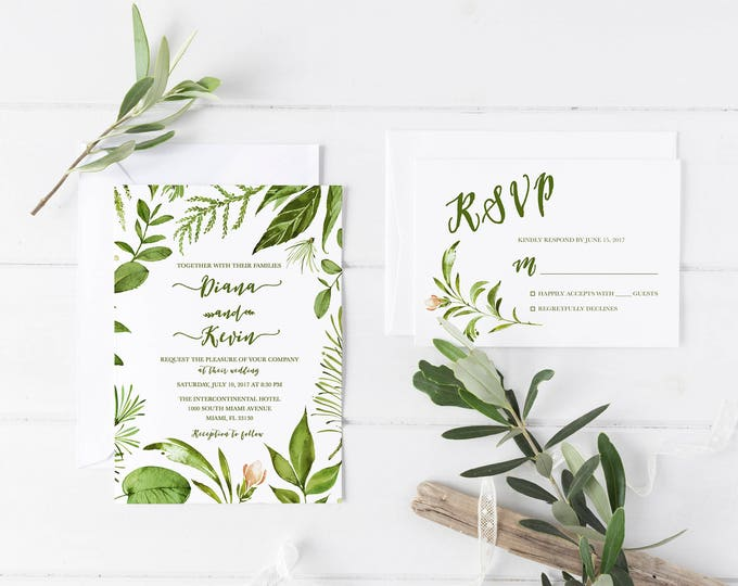 Leaf Wedding Invitation, Green Wedding Invitation, Leaf Invitation, Rustic Wedding Invitation, Boho Wedding Invitation, Printable Invite