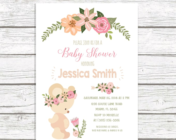 Teddy Bear Baby Shower Invitation Girl, Teddy Bear Invitation, Boho Baby Shower Invitation, Floral Teddy Bear Invite, Printable Invite