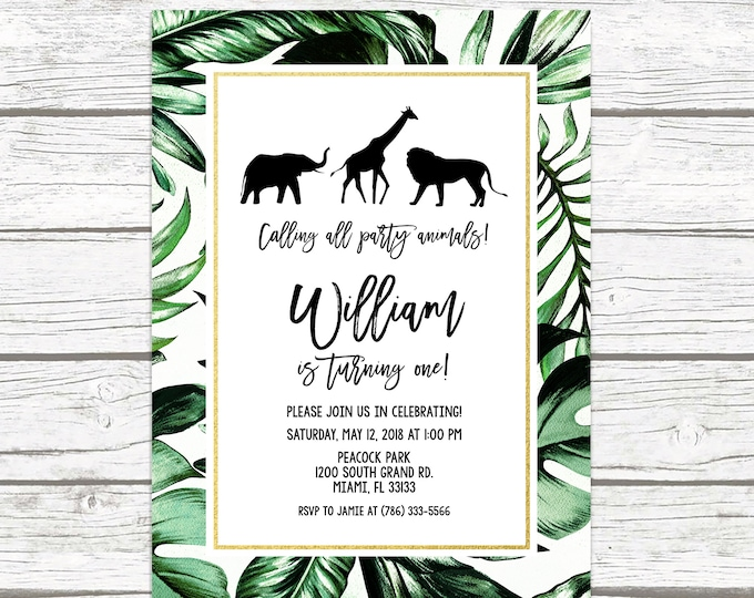 Safari Birthday Invitation, Zoo Birthday Invitation, First 1st Birthday Invite, Leaf Safari Invitation, Jungle Invitation, Printable
