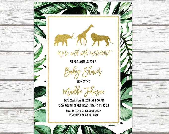 Safari Baby Shower Invitation, Gold Safari Baby Shower Invitation, Leaf Safari Baby Shower Invitation, Jungle Animal Baby Shower Invite