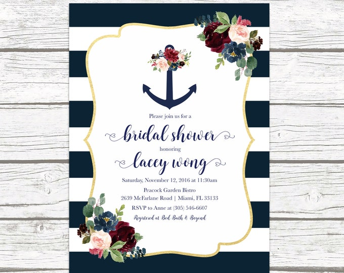 Nautical Bridal Shower Invitation, Anchor Bridal Shower Invitation, Nautical Invitation, Floral Anchor Invitation, Navy and Marsala Bridal