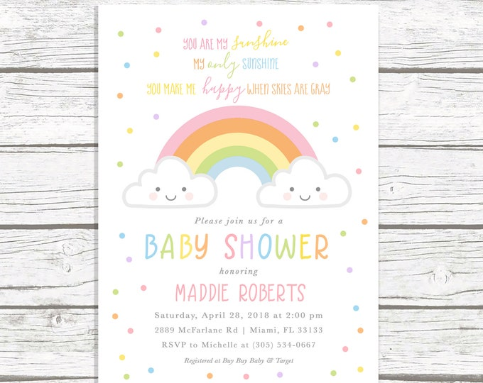 You Are My Sunshine Baby Shower Invitation, Rainbow Baby Shower Invitation, Cloud Baby Shower Invitation, Baby Shower Invite, Printable