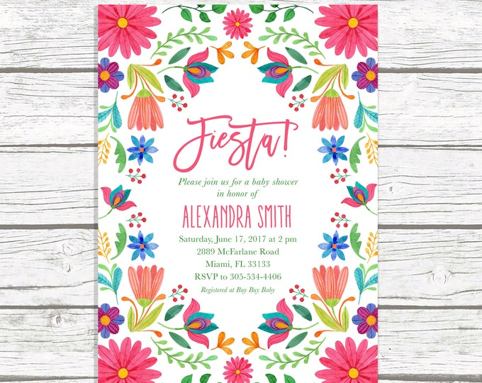 Fiesta Baby Shower Invitation, Cinco de Mayo Baby Shower Invitation, Mexican Floral Invite, Mexican Fiesta, Cinco de Mayo Invite