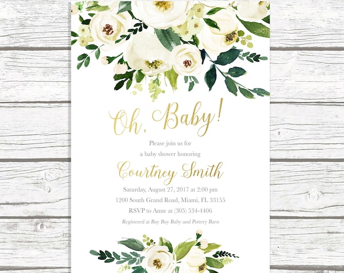Oh Baby Baby Shower Brunch Invitation, Gender Neutral Baby Shower Invitation, Rustic Baby Shower Invitation, Garden Green Baby Shower Invite