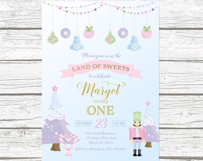 Nutcracker Invitation, Nutcracker Birthday Invitation Girl, Winter Birthday Invitation Girl, Ballet Birthday Invite, 1st Birthday