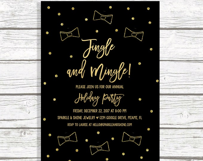Office Holiday Party Invitation, Jingle and Mingle Invitations, Office Christmas Party Invitation, Black and Gold Christmas Party Invitation