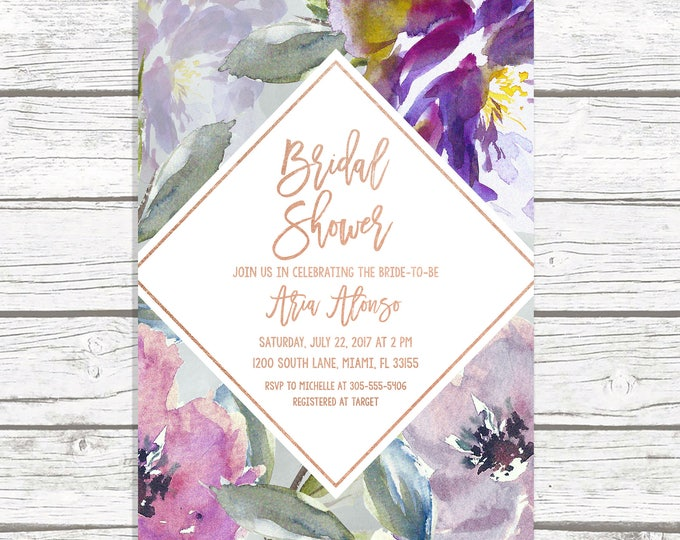 Purple Bridal Shower Invitation, Rustic Fall Bridal Shower Invitation, Bridal Shower Brunch Invitation, Rose Gold Bridal Shower Invite