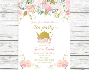 tea party invitation bridal shower invitation bridal tea invitation bridal shower tea invite pink gold bridal shower invitation