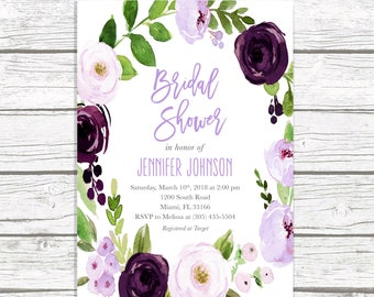 Lavender Bridal Shower Invitation, Purple Bridal Shower Invitation, Purple Floral Bridal Shower Invitation, Eggplant Bridal Shower Invite