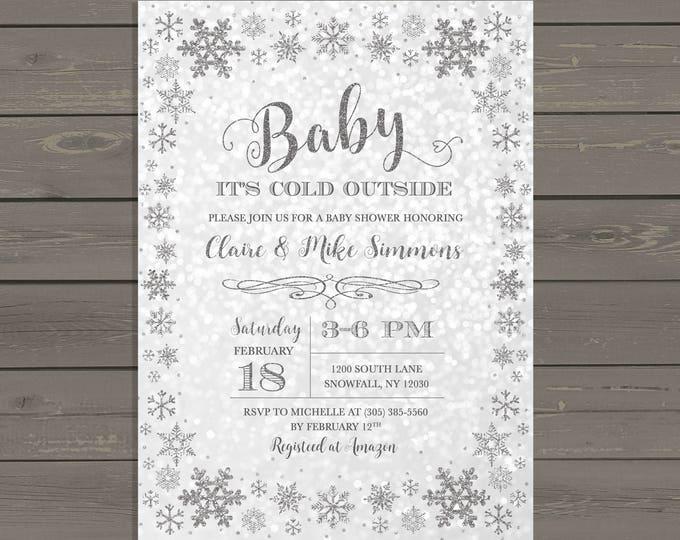 Winter Wonderland Baby Shower Invitation, Baby It's Cold Outside Baby Shower Invitation, Silver Snowflake Baby Shower Invite, Gender Neutral