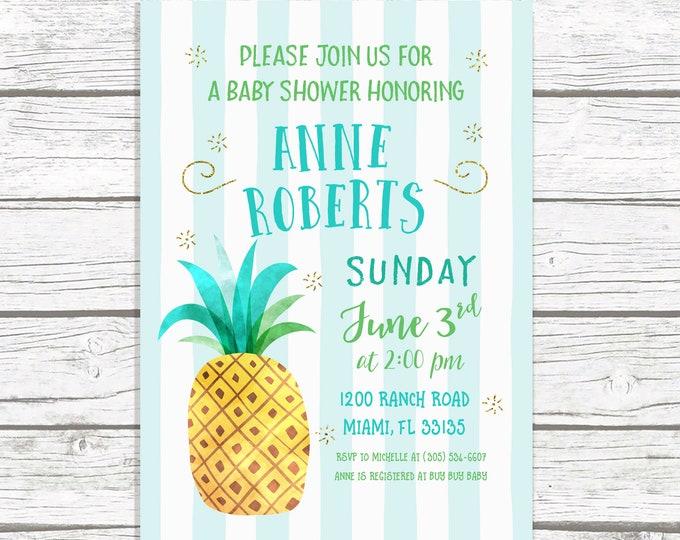 Pineapple Baby Shower Invitation, Pineapple Invitation, Tropical Baby Shower Invitation, Luau Baby Shower Invitation, Beach Baby Shower
