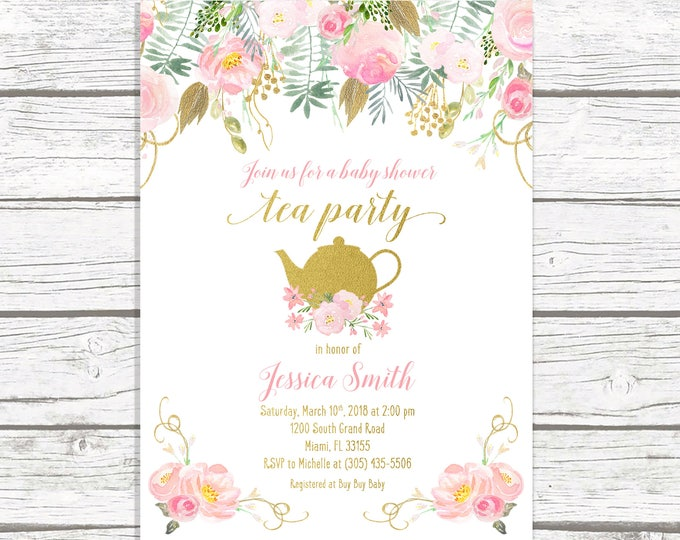 Tea Party Baby Shower Invitation, Tea Party Invitation, Baby Shower Tea Invite, Pink and Gold Baby Shower Invitation, Girl Baby Shower