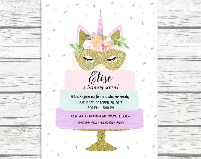 Unicorn Cake Halloween Invitation, Unicorn Costume Party Invitation, Halloween Birthday Invitation, Unicorn Birthday Invitation, Printable
